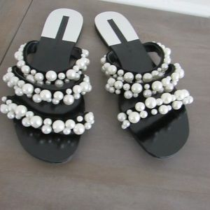 Zara Pearly Pearl Strappy Sandals Slides.
